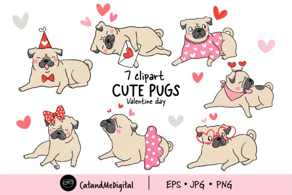 Valentine Pug Dogs Clipart Graphic Illustrations By CatAndMe