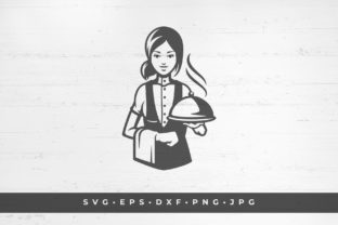 Waitress with a Dish Icon Silhouette Graphic Illustrations By vasyako1984