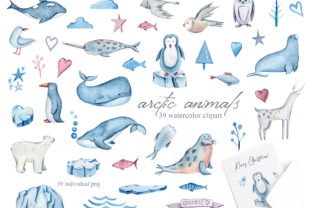 Print on Demand: Watercolor Arctic Animals Clipart Graphic Illustrations By Tiana Geo