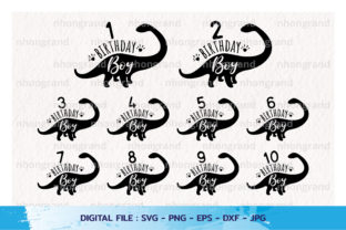Brithday Boy and Number Dinosaur Svg Graphic Crafts By nhongrand