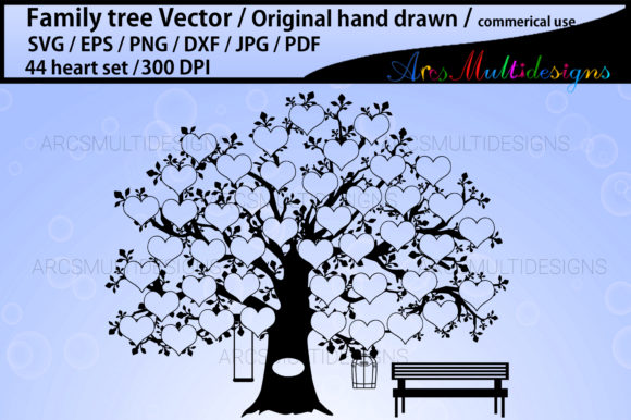 Print on Demand: 44 Heart Family Tree Svg Template Graphic Crafts By Arcs Multidesigns