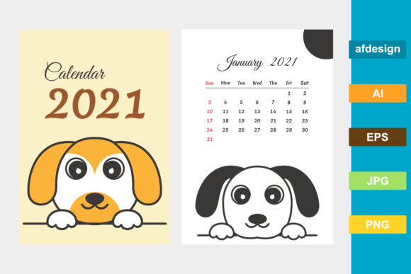 Calendar 2021 Year Cute Dog Theme Graphic Print Templates By semu creative