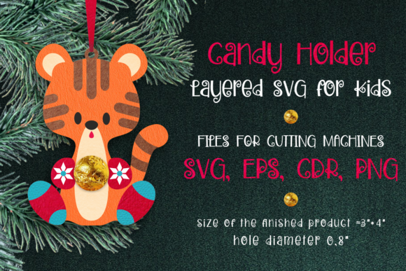 Print on Demand: Candy Holder Christmas Ornament Tiger Graphic 3D Christmas By Olga Belova