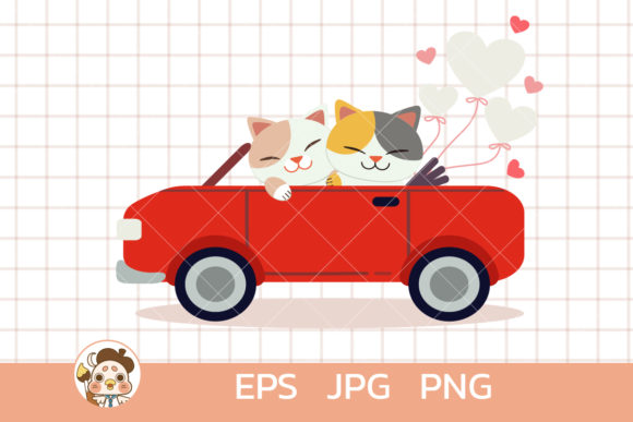 Cats in the Car with Heart Balloon Graphic Illustrations By Guppic the duck