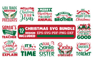 Print on Demand: Christmas SVG Bundle in Red & Green Graphic Crafts By Design Store Bd.Net