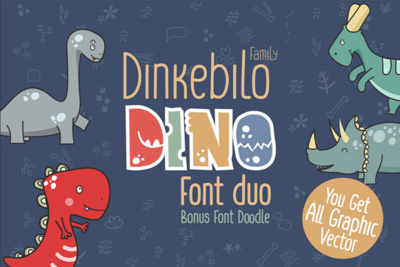 Print on Demand: Dinkebilo Dino Display Schriftarten von adevio27