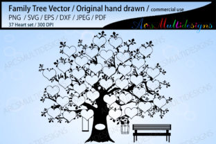 Print on Demand: Family Tree 37 Heart Template Graphic Crafts By Arcs Multidesigns