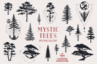 Hand Drawn Mystic Trees Collection Graphic Illustrations By Kirill's Workshop