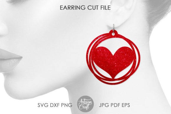 Print on Demand: Heart Earring, Messy Circles Graphic 3D SVG By Artisan Craft SVG