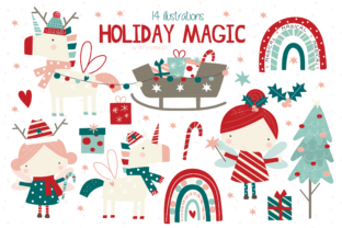 Print on Demand: Holiday Magic Clipart Set Graphic Illustrations By poppymoondesign