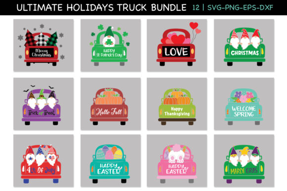 Holidays Trucks with Gnomes Svg Bundle Graphic Crafts By All About Svg