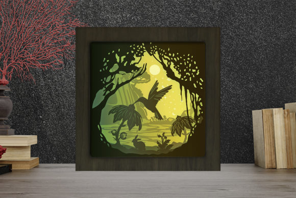 Print on Demand: Hummingbird Square Light Box Shadow Box Gráfico Shadow Box en 3D Por LightBoxGoodMan
