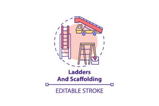 Print on Demand: Ladders and Scaffolding Concept Icon Graphic Icons By bsd studio