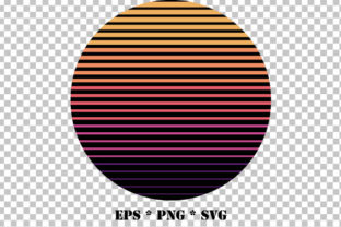 Print on Demand: Retro Circle Stripes Sunset Vector SVG Graphic Crafts By GraphicsFarm