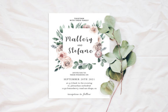 Print on Demand: Roses Wedding Invitation Template Graphic Print Templates By Creative Tacos