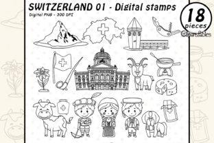 Switzerland Ditigal Stamps, Travel Art Graphic Coloring Pages & Books By clipartfables