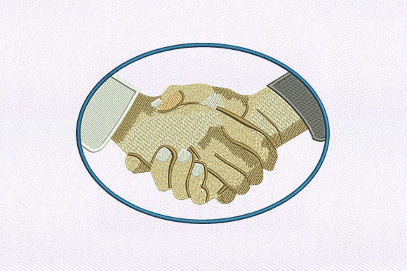 Shaking Hands Design Family & Friends Embroidery Design By DigitEMB