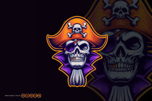 Print on Demand: Skull Pirate with Gold Dental Clipart Graphic Illustrations By artgrarisstudio