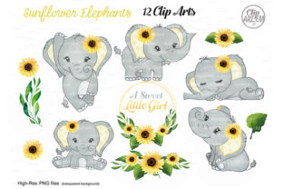 Print on Demand: Sunflower Elephant Girl Watercolor Set Graphic Illustrations By clipArtem