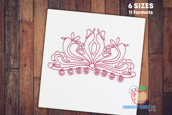Swirl Border Design Sketch Floral Wreaths Embroidery Design By embroiderydesigns101