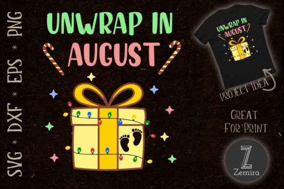 Print on Demand: Unwrap in August Christmas Pregnancy Graphic Print Templates By Zemira