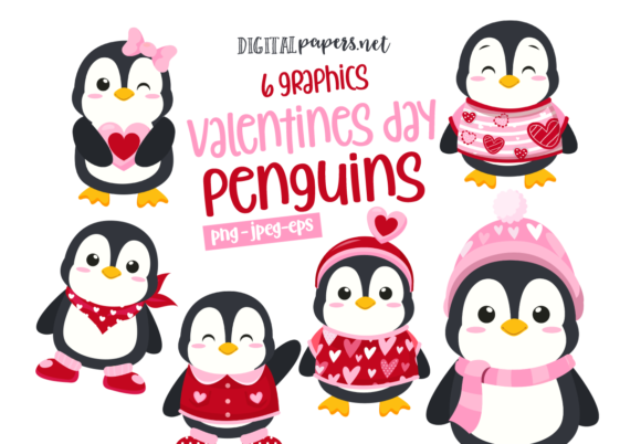 Valentines Day Penguins Graphic