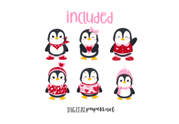 Valentines Day Penguins Graphic Download