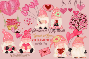 Print on Demand: Valentine's Day Gnomes Sweet Clipart Graphic Illustrations By Suda Digital Art
