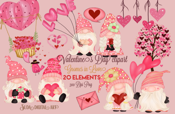 Print on Demand: Valentine's Day Gnomes Sweet Clipart Gráfico Ilustraciones Por Suda Digital Art