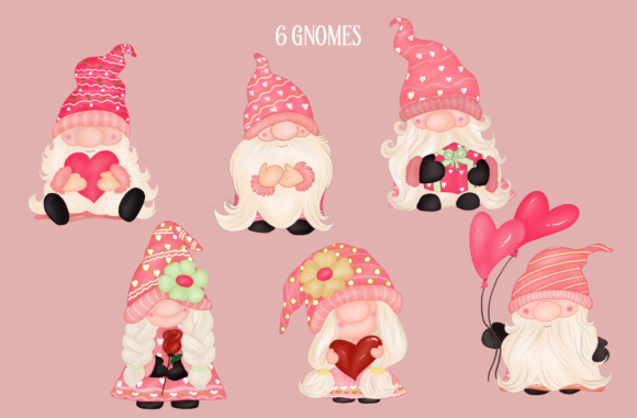 Valentine's Day Gnomes Sweet Clipart Graphic Download