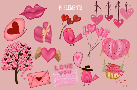 Valentine's Day Gnomes Sweet Clipart Graphic Item