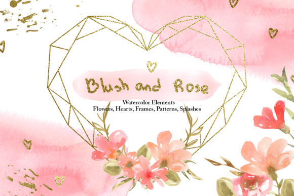 Print on Demand: Watercolor Blush and Rose Collection Graphic Illustrations By tanatadesign