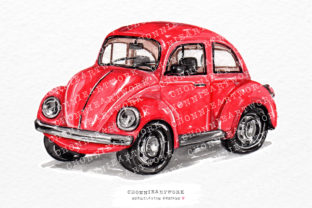 Print on Demand: Watercolor Red Vintage Car Side Gráfico Crafts Por Chonnieartwork