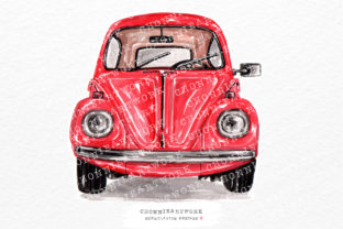 Print on Demand: Watercolor Red Vintage Car Front Graphic Crafts By Chonnieartwork