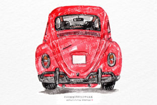 Print on Demand: Watercolor Red Vintage Car Back Graphic Crafts By Chonnieartwork