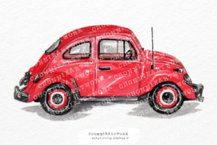 Print on Demand: Watercolor Red Vintage Car Graphic Crafts By Chonnieartwork