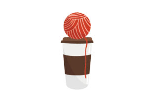 Coffee Cup with Yarn Coffee Craft Cut File By Creative Fabrica Crafts