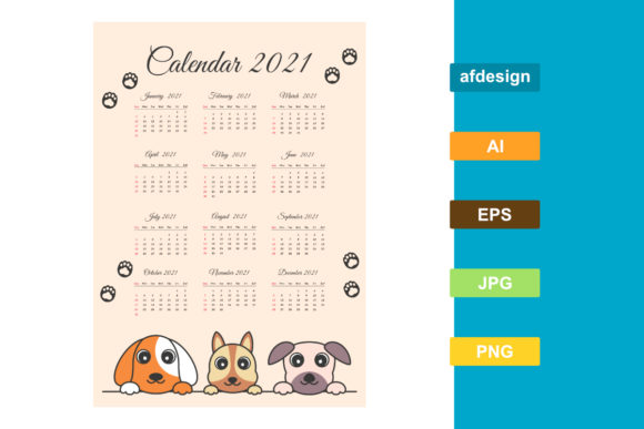 2021 Calendar with Cute Dog Themes Graphic Print Templates By semu creative