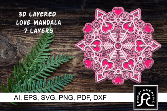 Print on Demand: 3D Layered Love Mandala - Valentines   Graphic 3D SVG By Febri Creative