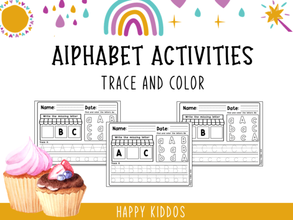 Alphabet Activities: Trace and Color Graphic K By Happy Kiddos