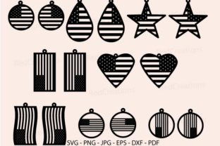American Earring Svg, USA Earring Graphic Crafts By RedCreations