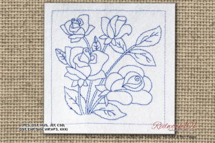 Beautiful Roses with Leaves Redwork Single Flowers & Plants Embroidery Design By Redwork101
