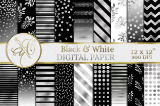 Black and White Digital Paper Graphic Backgrounds By paperart.bymc