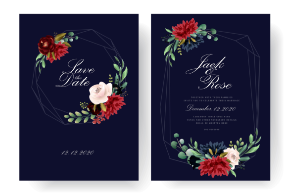 Burgundy Floral Wedding Invitation Card Graphic Print Templates By Dzynee
