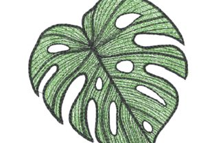 Elephant Ear Leaf Single Flowers & Plants Embroidery Design By carasembor