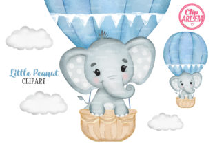 Print on Demand: Elephant Hot Air Balloon Blue Cloud Graphic Illustrations By clipArtem