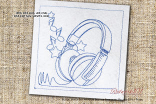 Enjoy Music with Headphones Redwork Music Embroidery Design By Redwork101