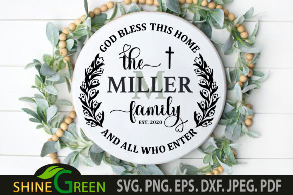 Print on Demand: Family Monogram God Bless This Home Graphic Crafts By ShineGreenArt