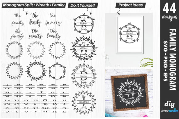 Print on Demand: Family Monogram Maker with Split Text Graphic Crafts By vectorbundles