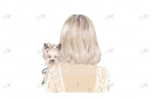 Girl with Her Dog Yorkie Illustration Graphic Illustrations By MaddyZ